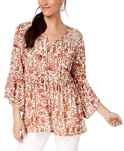 (Style & Co Floral-Print Lace Peasant Top (Brulee Foliage, S))