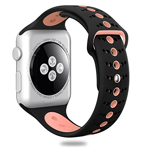 Comppatible for Apple Watch Band 38mm 42mm,Valband Soft Silicone Sport Band Strap Replacement iWatch Bands for Apple Watch Nike Series 3,Series 2,Series 1 (Black/Pink, 42mm)