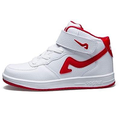 6a4213ed1babed Qianliuk High-Top-Basketball-Sportschuhe für Kinder mit Klettverschluss  Mode-weiße Turnschuhe