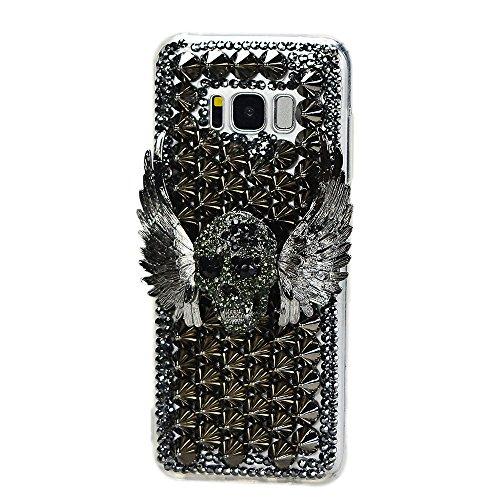 Case Crystal Skull Black (STENES Galaxy Note 8 Case - 3D Handmade Luxury Crystal Punk Rivet Wing Skull Sparkle Rhinestone Design Cover Bling Case for Samsung Galaxy Note 8 Retro Bows Anti Dust Plug - Black)