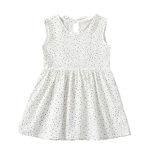 - Jarsh 2 Colors Toddler Baby Girls Dress, Simple Style Little Flower Dot Printed Sleeveless Bowknot Dresses (White, 3T(2-3Years Old))