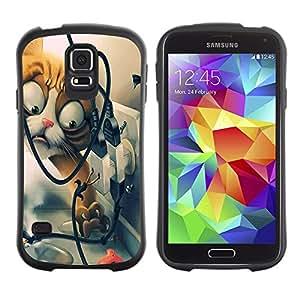 LASTONE PHONE CASE / Suave Silicona Caso Carcasa de Caucho Funda para Samsung Galaxy S5 SM-G900 / Funny Funny Cat