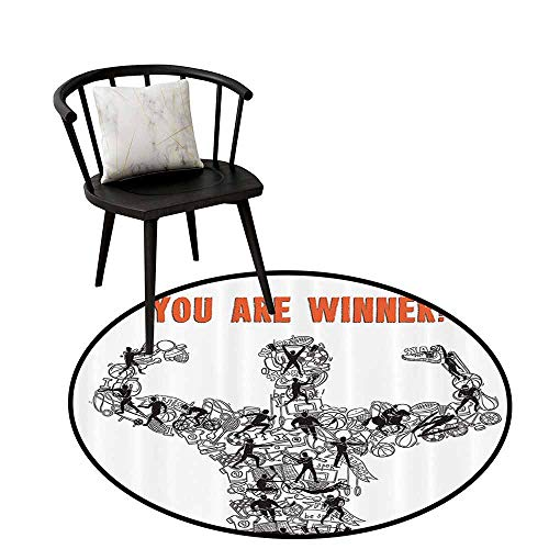 (Modern Round Rug Olympics Decorations Can be Folded Winner Concept with Sportsman Silhouette Athletes and Competition Icons Print Black White D31(80cm))