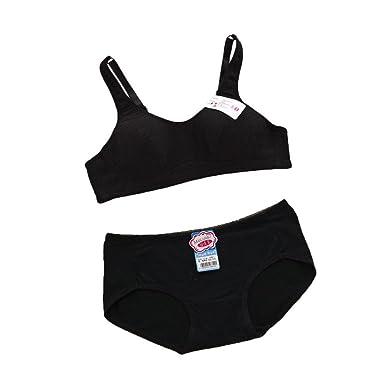 MANJIAMEI Puberty Girls Kids Padded Bras And Matching Pants Sets Kids  Training Underwear Sets  Amazon.co.uk  Clothing 6ff000eb6