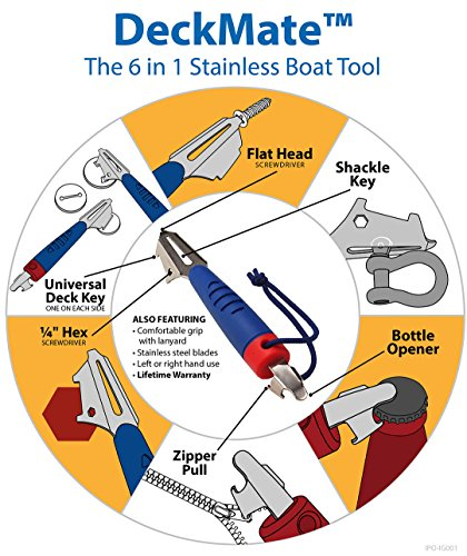 DeckMate 6-in-1 Boat Tool, Includes 2 Deck Keys, Shackle Key, Zipper Pull, Screwdriver, and Hex Tool
