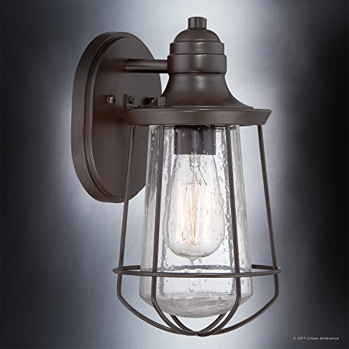 Luxury Vintage Outdoor Wall Light, Small Size: 11.25''H x 6.25''W, with Nautical Style Elements, Cage Design, Estate Bronze Finish and Seeded Glass, Includes Edison Bulb, UQL1120 by Urban Ambiance by Urban Ambiance (Image #2)