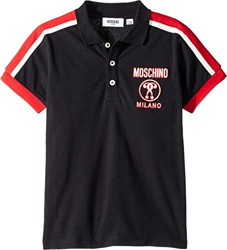 Moschino Kids Boy's Short Sleeve Polo w/Logo Detail On Front (Little Kids/Big Kids) Black 4 US Little - Logo Us Original Polo