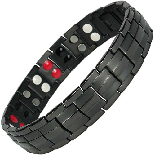 IonTopia Zeus Titanium Magnetic Therapy Bracelet Black with Free Links Removal -