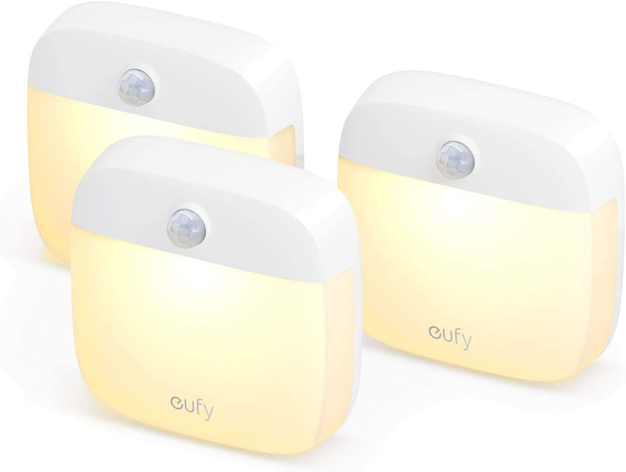 eufy Lumi Stick-On Night Light, 2nd Generation Warm White LED, Motion Sensor, Bedroom, Bathroom, Kitchen, Hallway, Stairs, Energy Efficient, Compact, 3-Pack.