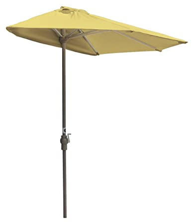 Blue Star Group Off-The-Wall Brella Sunbrella Half Umbrella, 7.5 -Width, Yellow