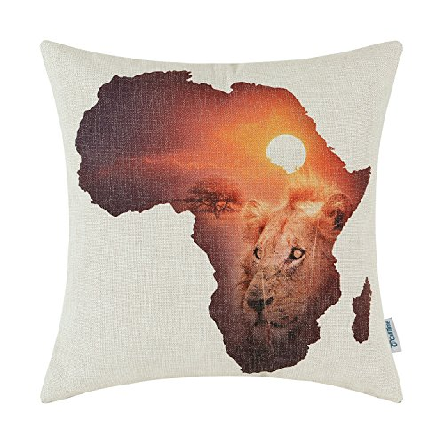 CaliTime Canvas Throw Pillow Cover Shell for Couch Sofa Home Decoration African Savannah Animals Theme 18 X 18 inches Africa Continent