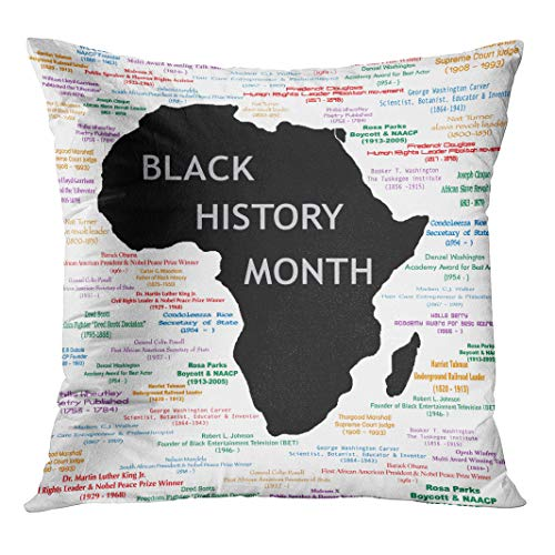 Semtomn Throw Pillow Cover Raster for Black History Month Including Names Time Periods with Hidden Zipper Decorative Home for Sofa 20