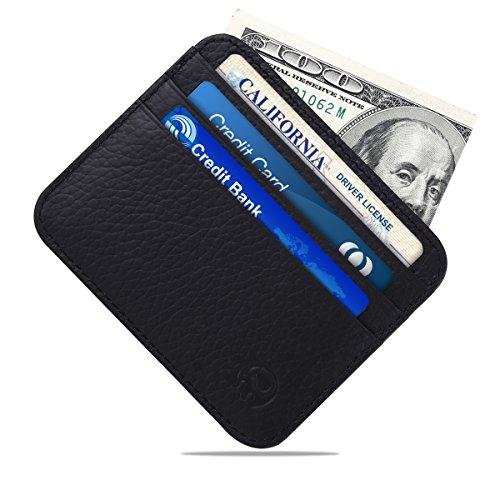Slim Minimalist Card Holder Wallet for Men-MuMaster Leather Front Pocket RFID Blocking Card Case LC001(litchi grain black) ()