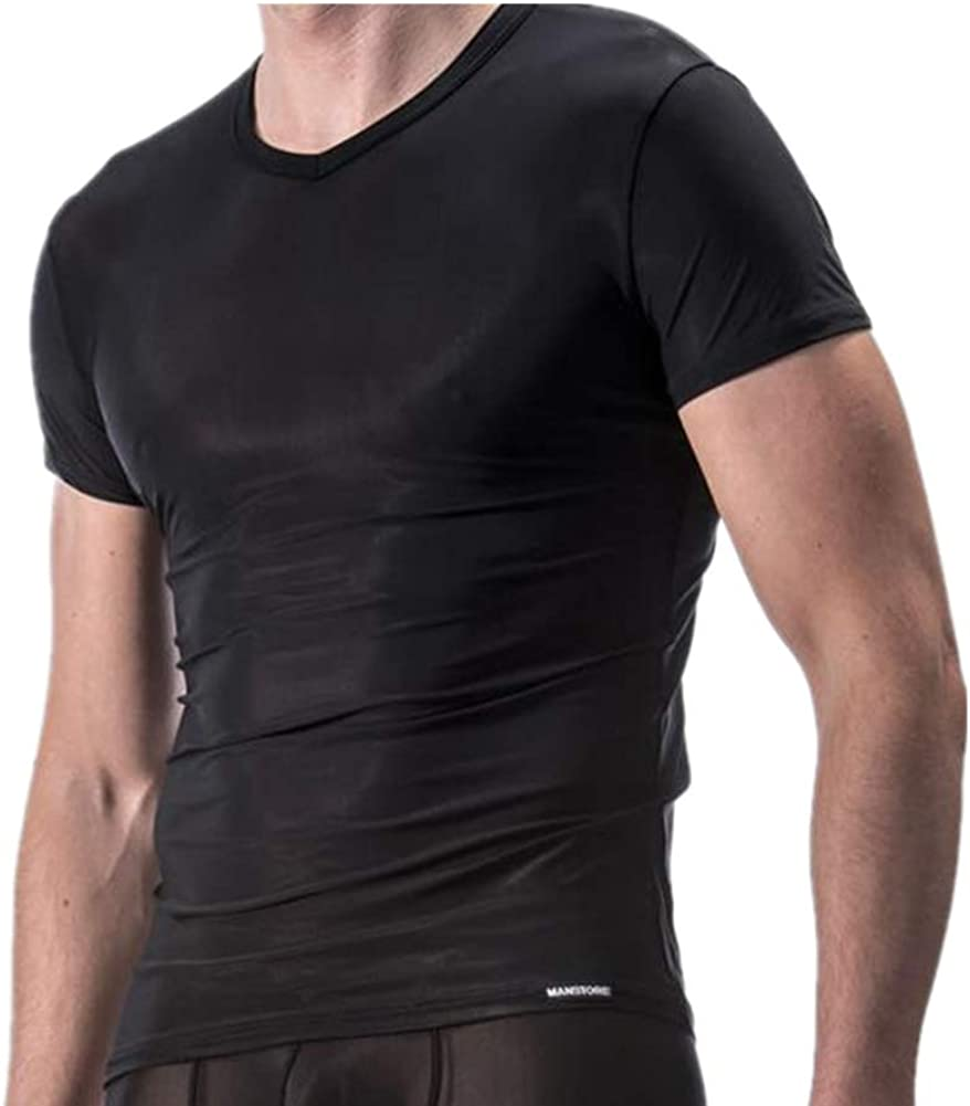 DOTBUY Camiseta de Malla Transparente Hombre Manga Corta, Deportiva y de Ocio Hielo Seda Perspectiva Desgaste de la Aptitud (M, Negro): Amazon.es: Ropa y accesorios