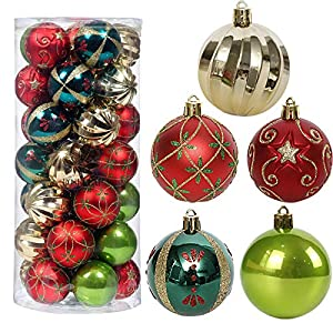 """Best Epic Trends 51DztoscuBL._SS300_ Christmas Tree Ornaments, 35ct Christmas Ball Decoration Set 2.36"""" Red Green and Gold Christmas Ball Shatterproof Hanging Tree Ornament Set"""