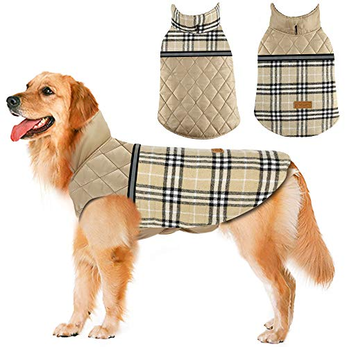 Dog Jacket Winter Dog Coat Reversible Reflective Dogs Apparel Outdoor Thicken Windproof British Style Plaid Dog Vest…