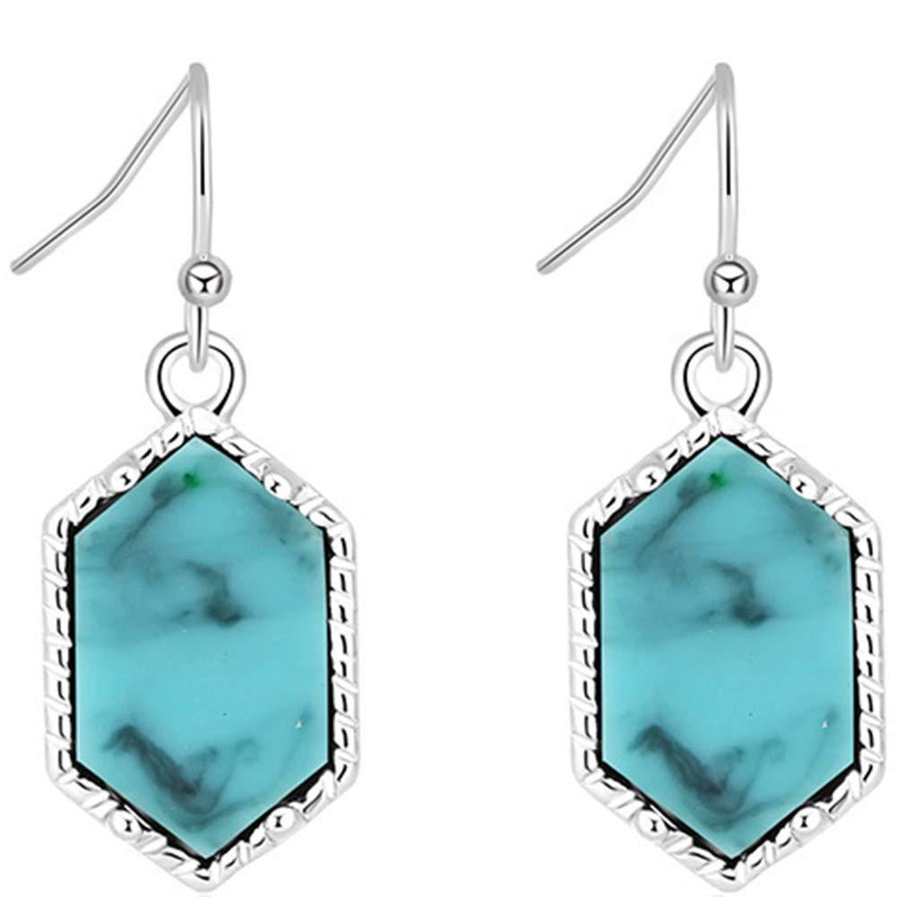 Exquisite Jewelry for Women Girls newshijieCOb Vintage Women Earrings Rhombus Stone Pendant Dangle Earrings