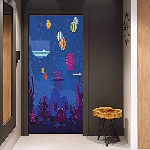 Onefzc Photo Wall Decal Cartoon Underwater World Fish in Aquarium and Whale Crabs Jellyfish Bubbles Coral for Home Decor W30 x H80 Blue and Multicolor