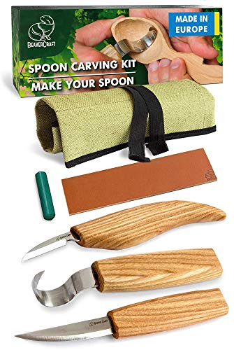 BeaverCraft S13 Wood Carving Tools Set for Spoon Carving 3 Knives in Tools Roll Leather Strop and Polishing Compound Hook Sloyd Detail Knife (Right-Handed Spoon Carving Knives)