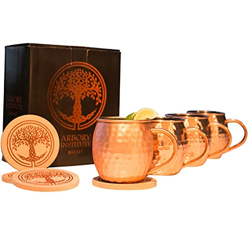 Arbory Institute Copper Moscow Mule Mugs Set of 4 - Large 16 oz Hammered Mug – BONUS Set Includes 4 Coasters and Jigger – Nickel Lined and Food Safe – Bulk Mules Gift Set for Men and Women (Food Large Mug)