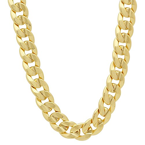 The Bling Factory Men's 9mm 14k Gold Plated Pressed Cuban Link Curb Chain Necklace, 24