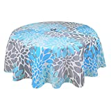 R.LANG Spill proof Tablecloth Round 60'' Zipper Tablecloth for Outdoor Use With Umbrella Covered Tables Sky Blue/Greay