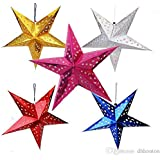 HOME REPUBLIC-Pack of 5 Party Decoration Paper Star for Christmas Year Party Decoration