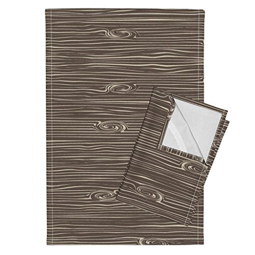 Roostery Wood Tea Towels Woodgrain Brown Woodland by Littlearrowdesign Set of 2 Linen Cotton Tea Towels by Roostery (Image #1)