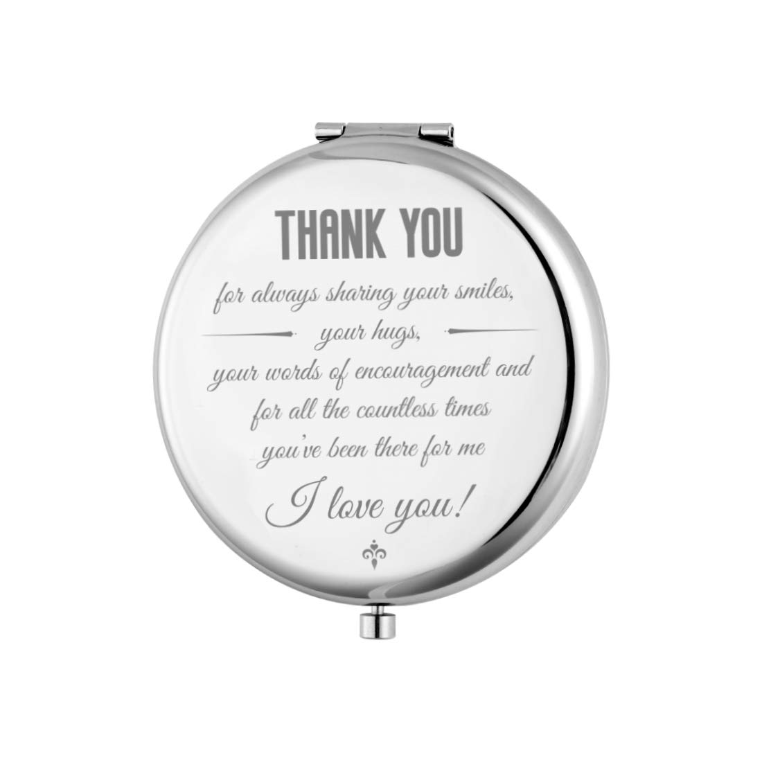 Mini Make up Mirror, Romantic Personalized Present for Anniversary, Birthday, Valentine's Day, Christmas, Wedding Day, Small Pocket Travel Makeup Mirror (Thank You)…