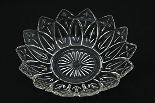 Large Federal Glass Petal Pattern Clear Glass Depression Glass Bowl