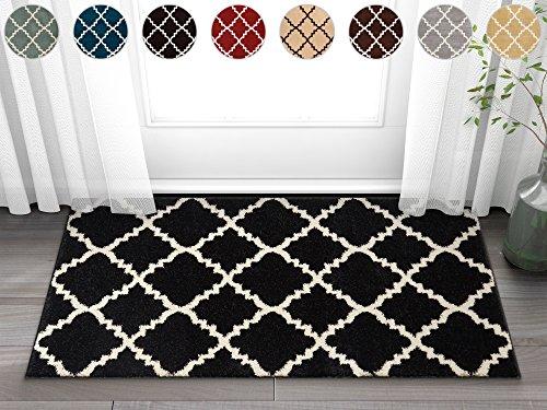 Harbor Trellis Black Quatrefoil Geometric Modern Casual 2x4 ( 2'3