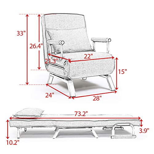Convertible Single Folding Chair Lazy Sofa Leisure Recliner 5 Position Lounge Couch