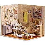 QTFHR Cute Dollhouse Miniature DIY House Mini Creative Room With Furniture Plus Dust Proof Cover DIY Romantic Gift (Blue)
