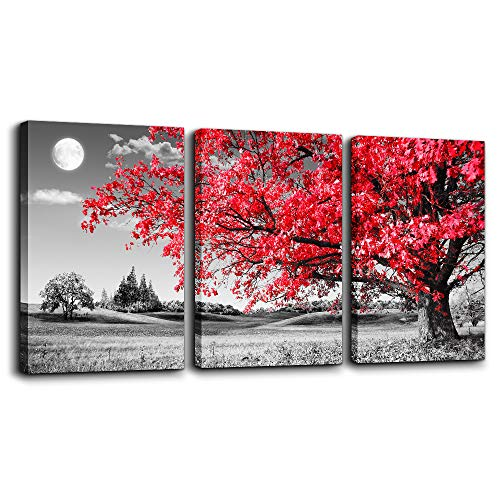 canvas wall art for living room Black and white red tree moon landscape painting bedroom Wall Decor 12