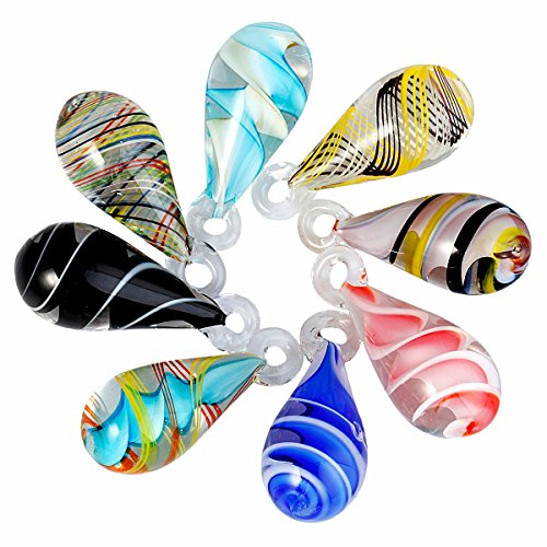 TUMBEELLUWA Glass Necklace Spiral Lampwork Glass Teardrop Pendant Assorted Random Color