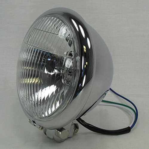"5-3/4"" Chrome Halogen Round Motorcycle Headlight with Custom Bottom Mount Bracket - 12V High Low Beam H4 60/55W Bulb - DOT Approved - Old School Bobber Chopper Cafe Racer Harley Brat"