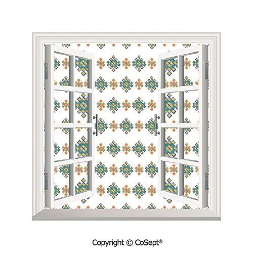 SCOXIXI Creative Window View Wall Decor,Pastel Colored Unique Geometric Hexagon Celtic Motifs on White Background Irish Artful Print,Window Stickers Have Beautiful Scenery(25.86x22.63 inch)