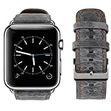 For Apple Watch Band, top4cus Genuine Leather iwatch Strap Replacement Band with Stainless Metal Clasp for Apple Watch Series 3 Series 2 Series 1 Sport and Edition (42mm, Retro style - Gray)