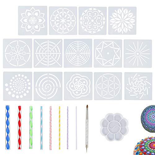 - 24 Pcs Mandala Dotting Tools Stencil Set for Painting Rocks Drawing & Drafting, Kids' Crafts, Nail Art, Painting