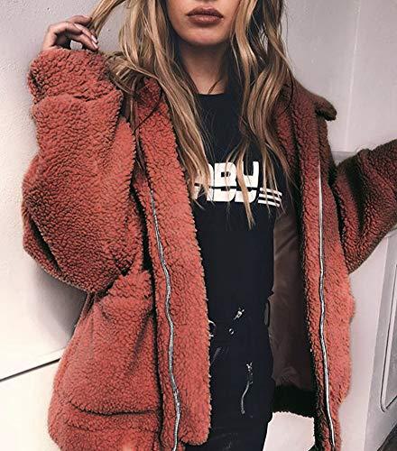 Poche Plush Zipper Avec Femme Bf Marron Casual Rouge Vestes Zhuikuna Lâche Manteaux Revers XwSvnaHq