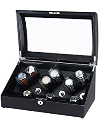 Wooden Automatic Watch Winder 6+6 Storage Boxes for 12 Watches with LED Light