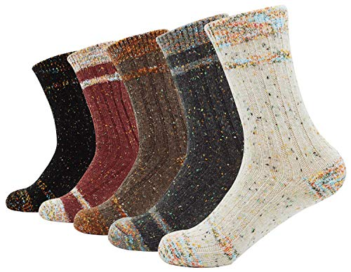 Knit Socks (Bienvenu Lady's 5 Pairs Thick Winter Outdoor Socks Home Daily Casual Socks, Knit Pattern 5)