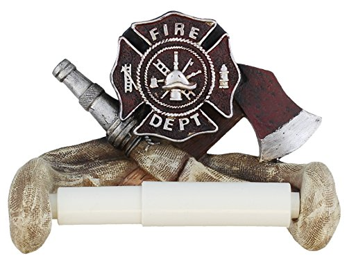 Decorative Fire Department Toilet Paper Holder - Fireman Firefighter Bathroom Decor