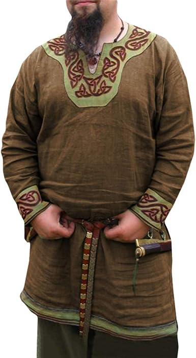 Hombre Medieval Camisa Cuello en V Manga Larga Camisa de Pirata Estampada Suelto Túnica Tops Renaissance Victoria Vikingos Pirata Ropa Sin Cinturón: Amazon.es: Ropa y accesorios