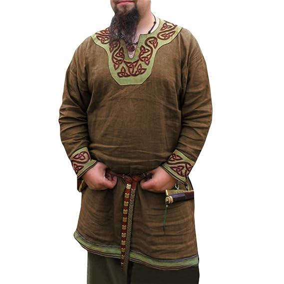 Hombre Medieval Camisa Cuello en V Manga Larga Camisa de Pirata ...