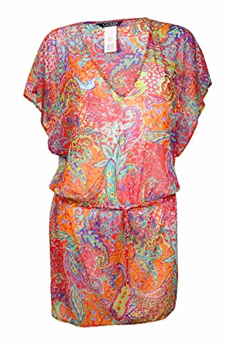 (Lauren Ralph Lauren Women's Maharaja Paisley Poolside Tunic Cover-Up Coral Swimsuit)