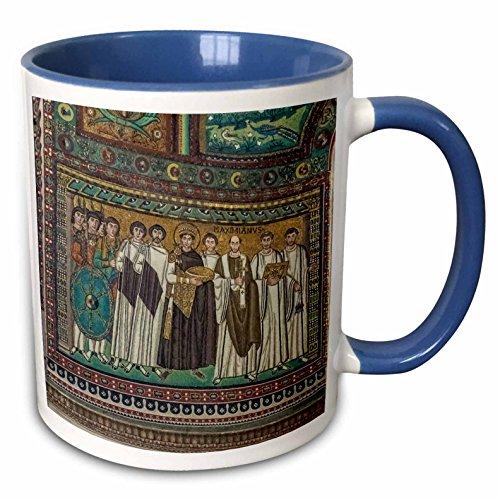 3dRose Danita Delimont - Italy - Italy, Ravenna, Basilica of San Vitale Mosaic - 15oz Two-Tone Blue Mug - Ravenna Mosaic
