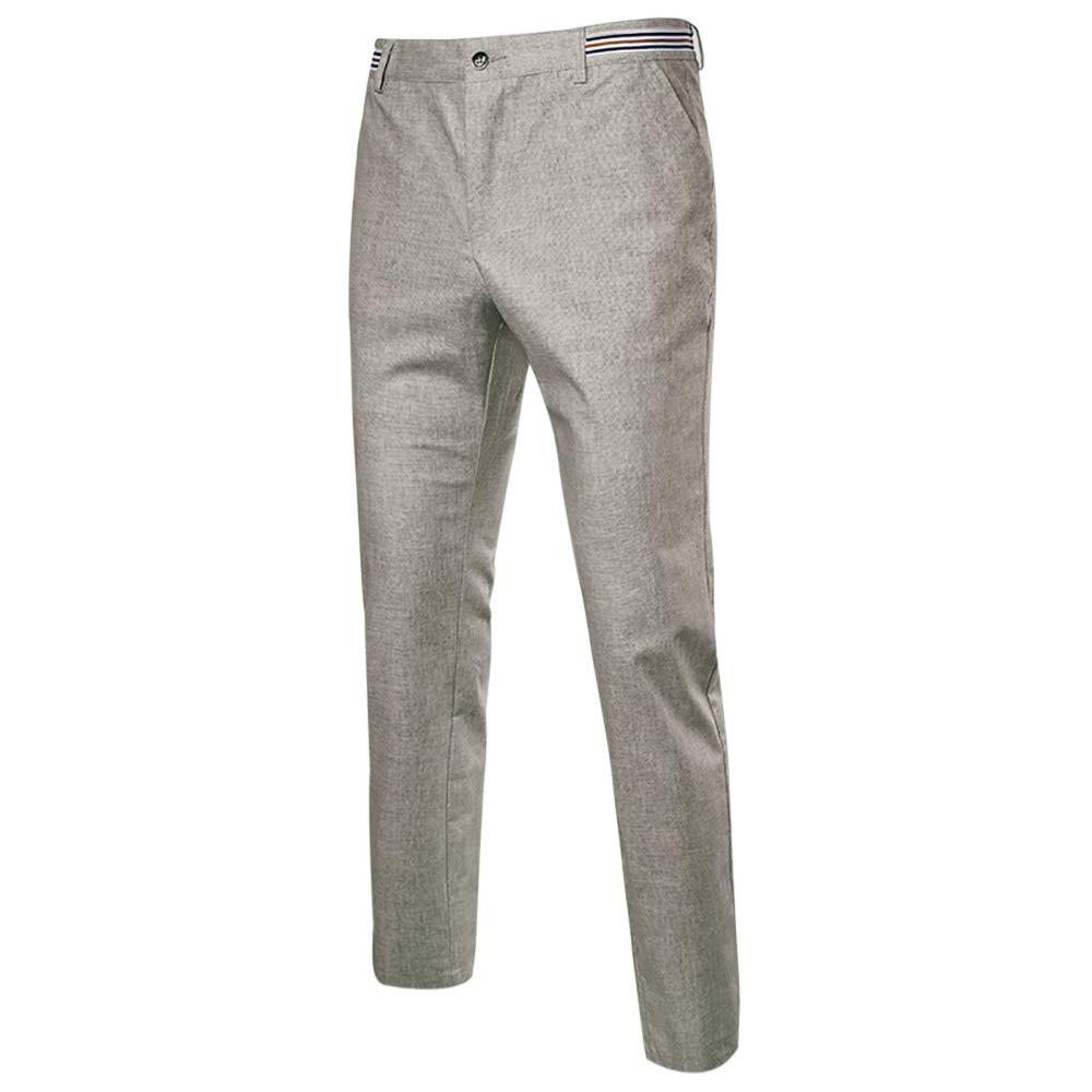 NiuZi Men's Classic Slim Linen Dress Pants Lightweight Summer Pants (Light Grey, US 30(Label 31))