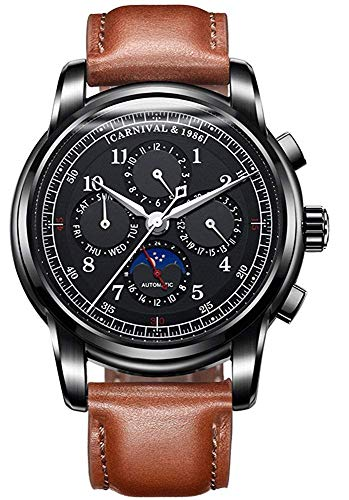 (Men's Automatic Mechanical Watch Date Moon Phase 24-Hour Indication Calfskin Leather Transparent Watches (Black Leather- All)