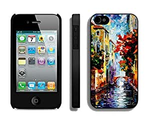 Apple Iphone 4s Case Durable Soft Silicone TPU Designer Painting Venice Art Designs Black Cell Phone Case Cover for Iphone 4